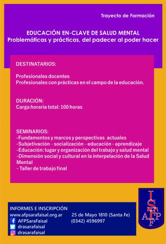 Trayecto de Formación «Educación en clave de salud mental. Problemáticas y prácticas, del padecer al poder hacer»