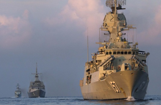 Australian, Singaporean and Malaysian navy ships during exercises in the South China Sea.