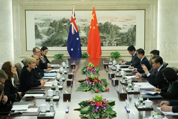 Challenge for Australia: Foreign Minister Julie Bishop and Chinese Foreign Minister Wang Yi (second from right) meeting.