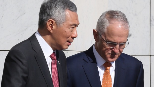 Lee Hsien Loong and Malcolm Turnbull at Parliament House in Canberra on Wednesday.