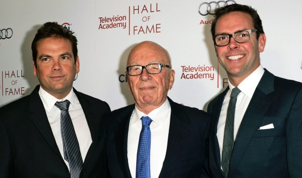 Rupert Murdoch, center, and his sons, Lachlan, left, and James Murdoch attend the 2014 Television Academy Hall of Fame ...