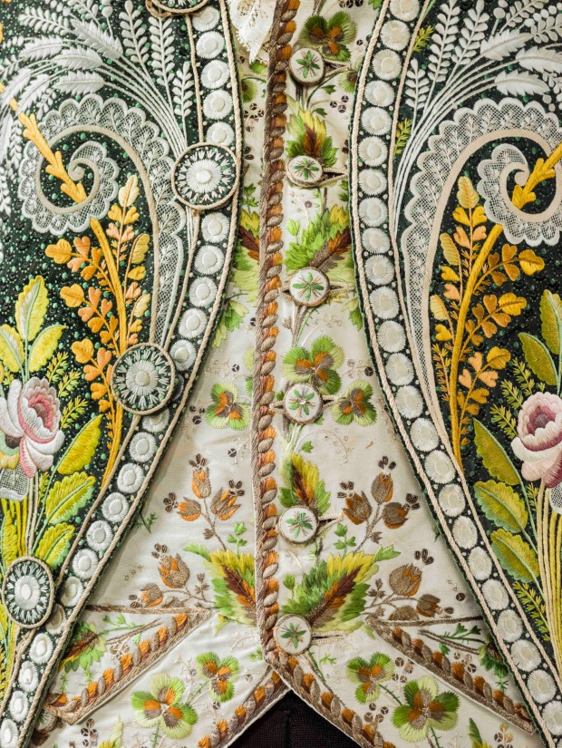 An intricate coat detail from France, c. 1800 .