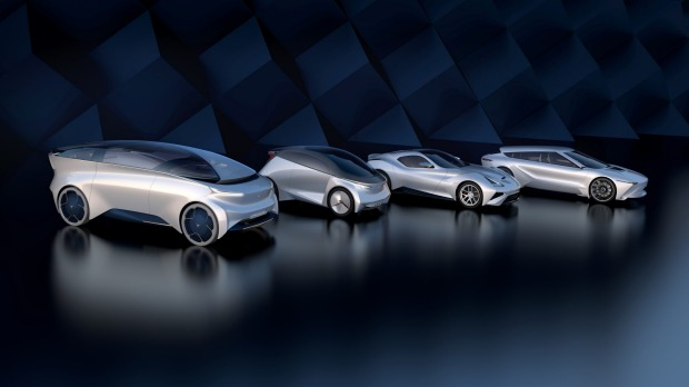 Icona concept cars, with the Nucleus robotaxi in foreground. The Italian design house now bases most of its workers in ...