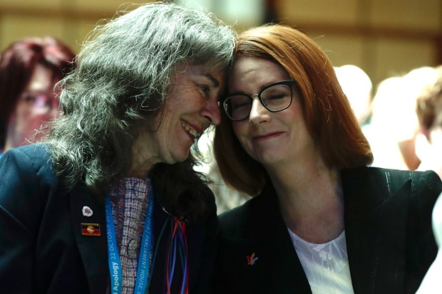 Campaigner Chrissie Foster and former prime minister Julia Gillard at Parliament House on Monday.