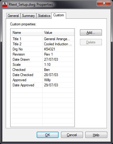Drawing Properties - Custom tab