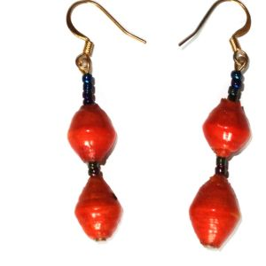 Red Unique Handmade Paperbead recycled Earring