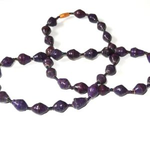 Purple Unique Handmade Paperbead recycled Necklace