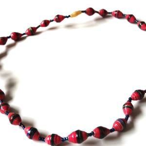 Bright Coloured Unique Handmade Paper bead recycled Necklace