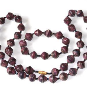 Handmade Iced Purple Necklace Bracelet Set