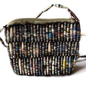 Handmade Beaded Grey White Bead handbags