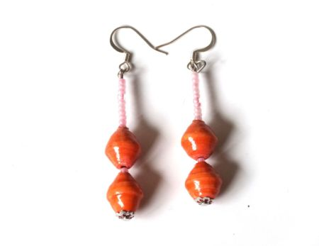 Orange Unique Handmade Paperbead recycled Earring