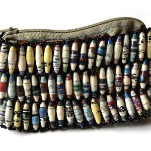 Handmade Grey Black Stripe Bead Purses