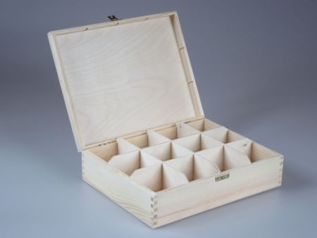 Wooden 12 Compartments Tea Bags Storage Treasure Box