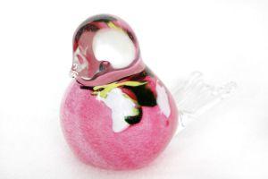 Glass Bird Pink Flower