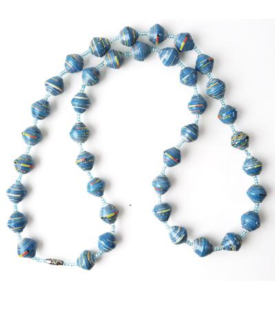 Handmade Glossy Blue Necklace