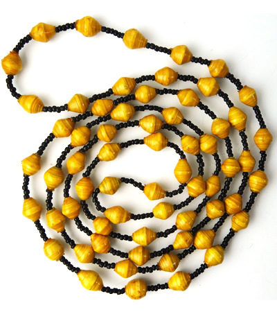yellow brown luster necklace