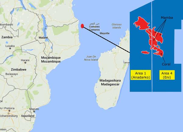 L'Area 1 di Enadarko e l'Area 4 di Eni dove sono situati i giacimenti di gas naturale a nord del Mozambico