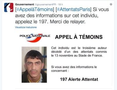 Tweet della polizia francese per l'identificazione del terzo Kamicaze dello Stade de France