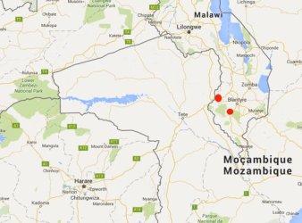 I punti in rosso indicano i luoghi di accoglienza dei profughi mozambicano in Malawi