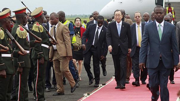 Ban Ki Moon all'arrivo a Bujumbura
