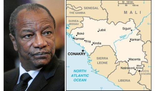 Il presidente, Alpha Condé e la mappa della Guinea Conakry