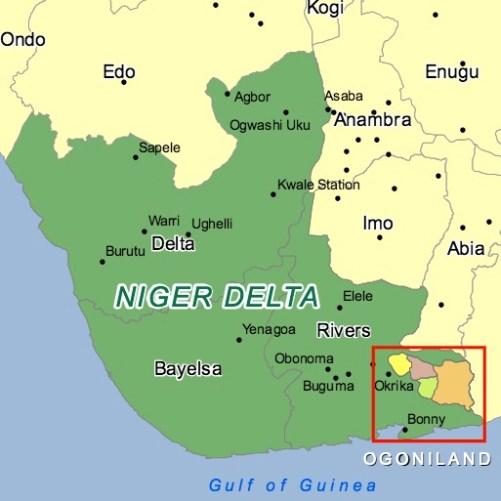 Mappa del delta del Niger e Ogoniland (Courtesy Unep)