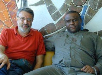 Massimo Alberizzi, direttore di Africa ExPress, e Jean-Pierre Bemba a Gbadolite dove il capo ribelle aveva installato il suo quartier generale, nel 2001