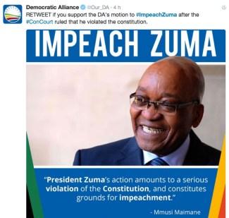 Il tweet #ImpeachZuma di Democratic Alliance