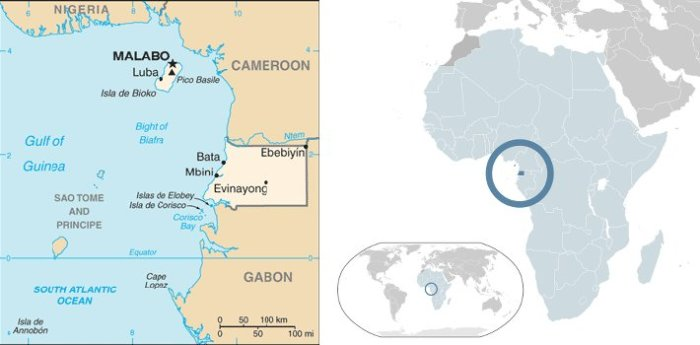Mappa della Guinea Equatoriale