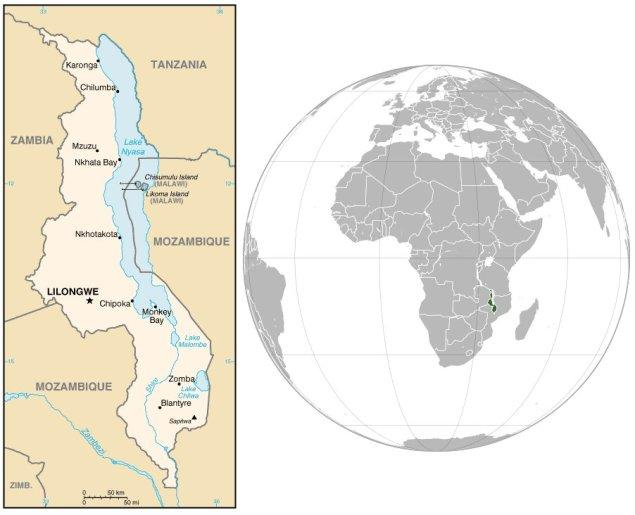 Mappa del Malawi