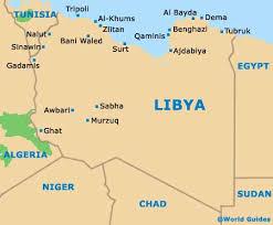 La mappa della Libia. Al confine con l'Algeria,verso il Niger si trova Ghat il villaggio dove sono stati rapiti gli italiani e il canadese