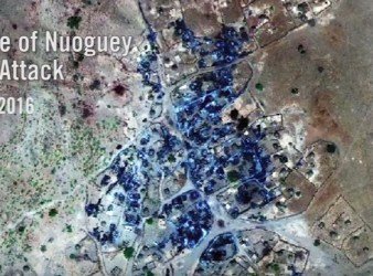 Foto satellitare del villaggio di Nouguey dopo l'attacco con armi chimiche (Courtesy Amnesty International)