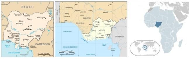 Mappa della Nigeria e del Biafra