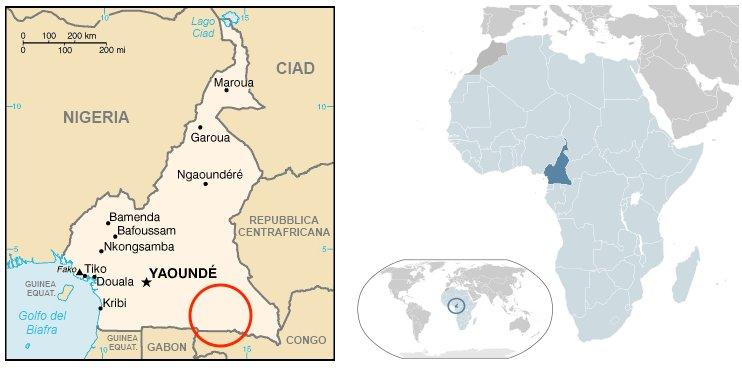 Mappa del Camerun. Nel cerchio l'area nella quale vivono i pigmei Baka