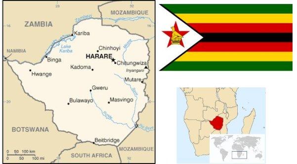 Mappa dello Zimbabwe e collocazione nel continente africano, con la bandiera