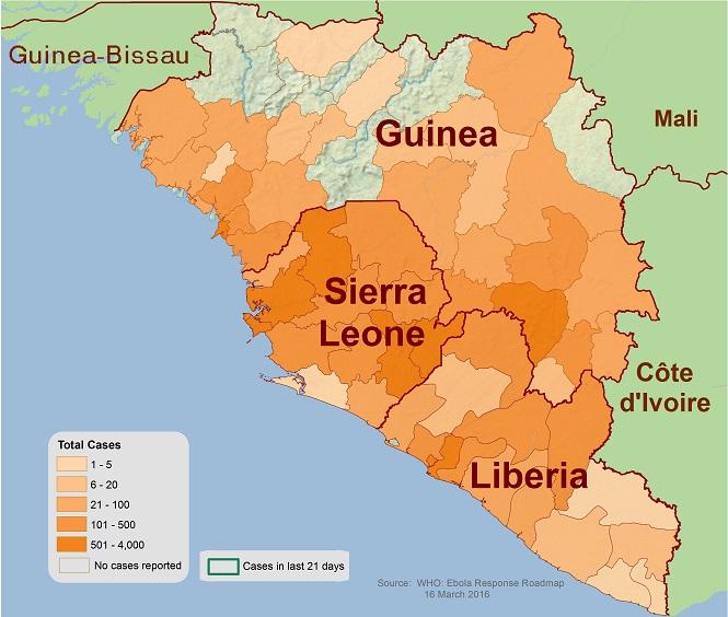 Mappa dell'epidemia di ebola aggiornata al 16 marzo 2016 (fonte WHO)
