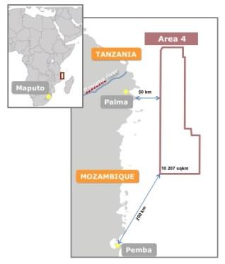 Mappa dell'Area 4 di intervento Eni a nord del Mozambico (courtesy Eni)