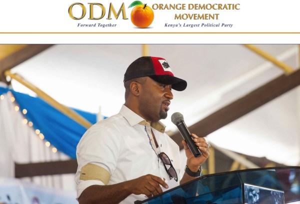 Il sito del Movimento democratico arancione dove appare l'immagine di Raila Odinga, candidato alla presidenza del Kenya