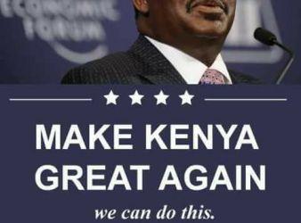 """Make Kenya great again"" lo slogan del candidato alla presidenza Raila Odinga"