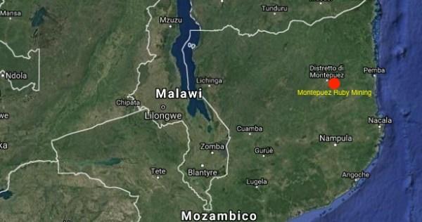 Mappa del nord del Mozambico con la localizzazione della Montepuez Ruby Mining (courtesy Google Maps)