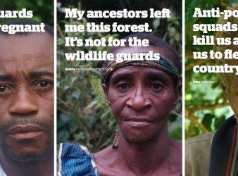 Alcune testimonianze: I guardaparco hanno picchiato mia moglie incinta. I miei antenati mi hanno lasciato questa foresta, non è per le guardie del parco. Le squadre anti-bracconaggio ci picchiano e ci uccidono e ci obbligano a lasciare il Paese. (courtesy © Survival International)
