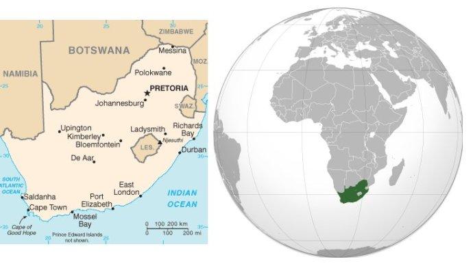 Mappa del Sudafrica