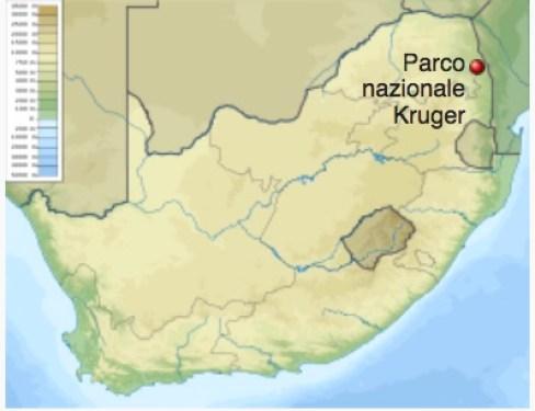 Mappa del Sudafrica. Il punto rosso indica la posizione del Kruger National Park