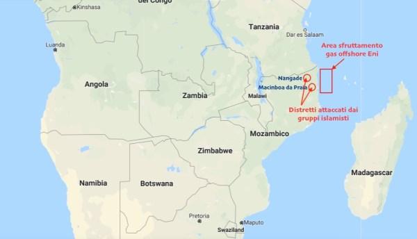 L'area degli attacchi islamici nella provincia di Cabo Delgado