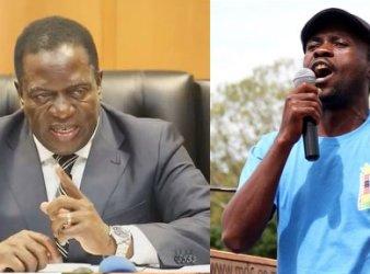 Da sin. Il presidente dello Zimbabwe, Emmerson Mnangagwa e il giornalista vittima di sparizione forzata, Itai Dzamara (Courtesy Amnesty International)