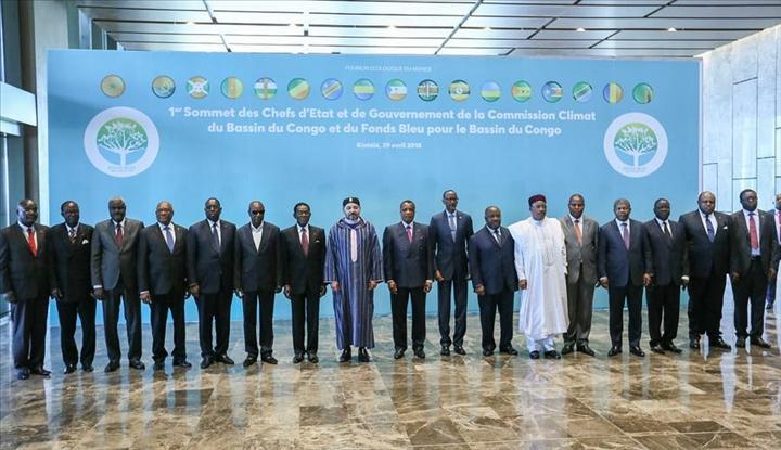 Capi di Stato africani, partecipanti al vertice di Brazzaville 29.4.2018 sul Bacino del Congo