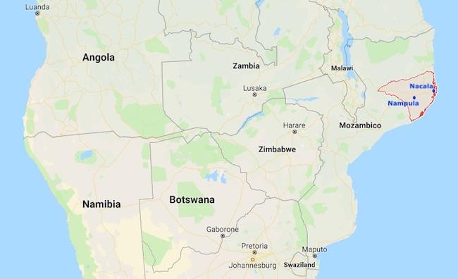 Mappa della provincia di Nampula, Mozambico, con le città di Nampula e Nacala (Courtesy Google Maps)