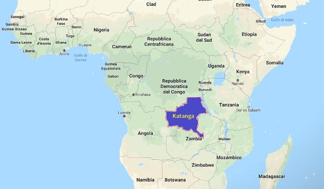 Mappa dellla provincia del Katanga nella RDC (Courtesy Google Maps)