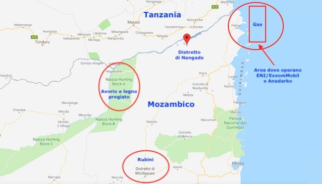 Mappa del Nord Mozambico con il distretto di Nangade e le aree strategiche (Courtesy Google Maps)