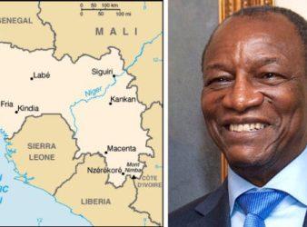 Mappa della Guinea e il presidente guineano Alpha Condé